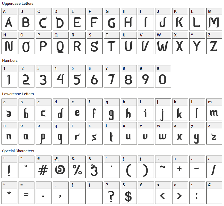 Ceria Lebaran Font Character Map