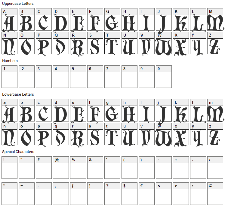 Chaillot Font Character Map