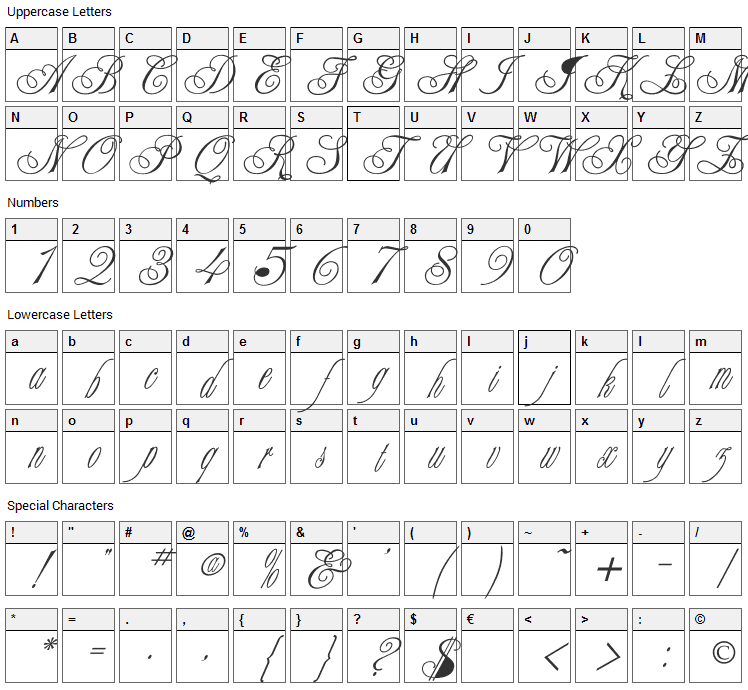 Champagne Font Character Map
