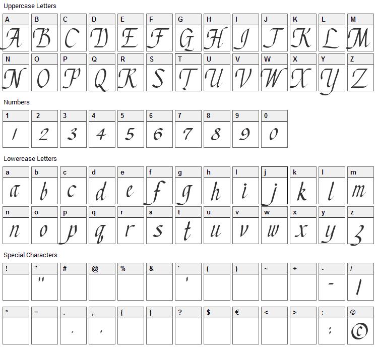 Chancery Cursive Font Character Map