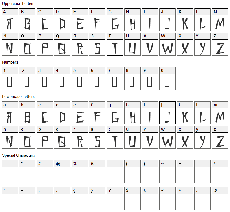 Chang and Eng Font Character Map