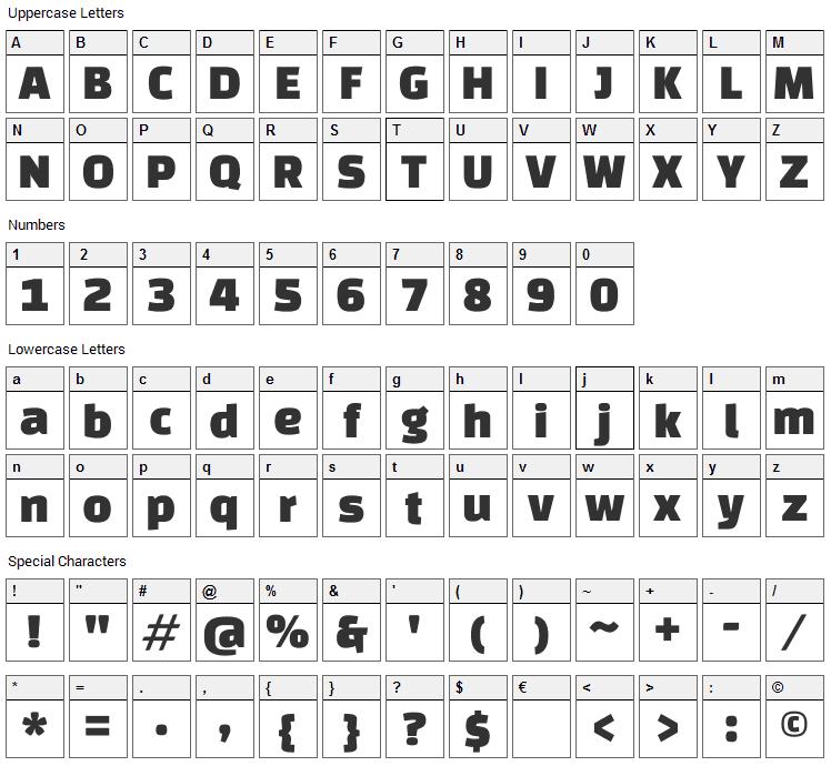 Changa One Font Character Map