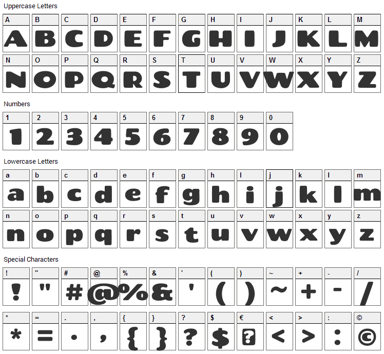 Chango Font Character Map