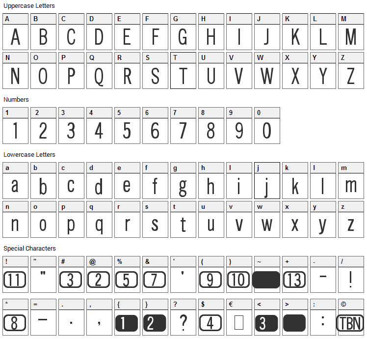 Channels Font Character Map