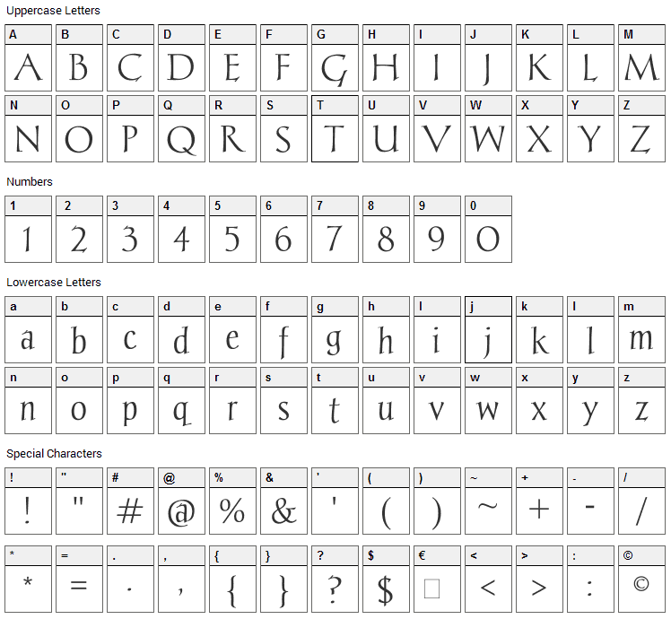 Chantelli Antiqua Font Character Map