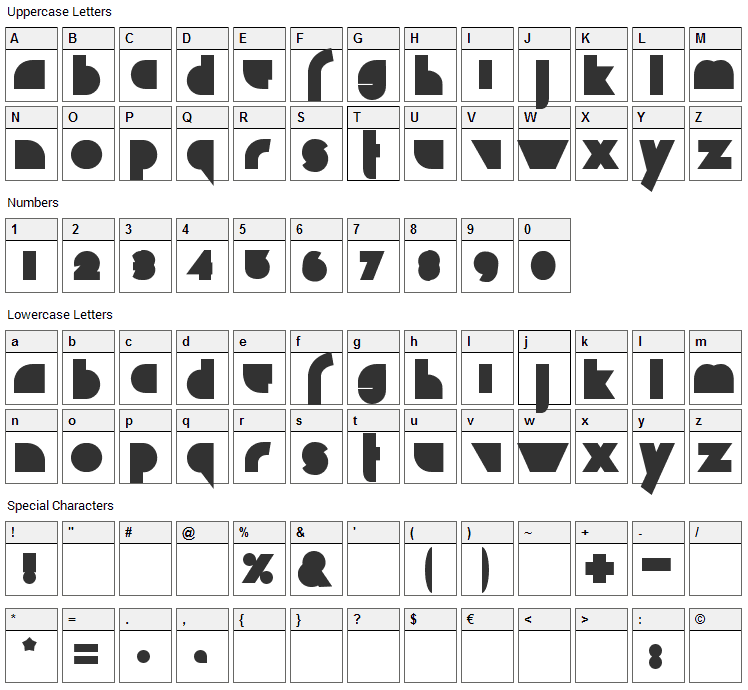 Chaos Math Font Character Map