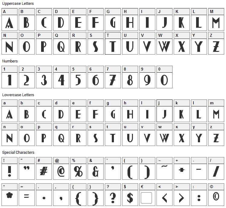 Chapleau Font Character Map