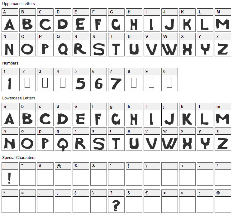 Charcoal First Font Character Map