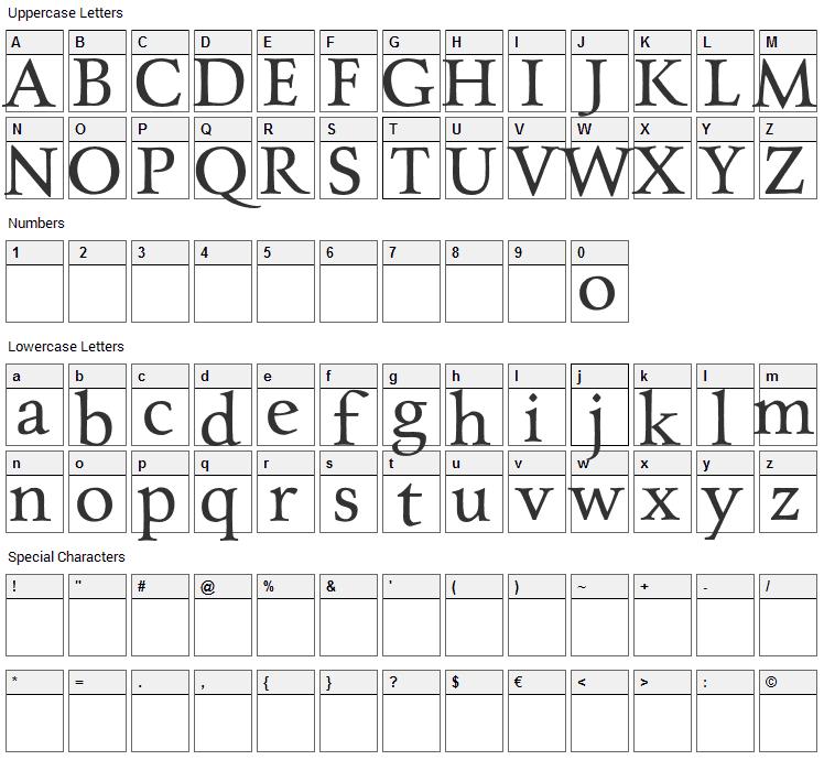 Charpentier Renaissance Pro Font Character Map