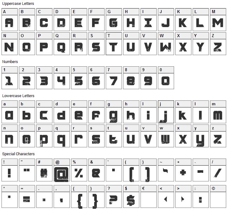 Charred Zard Font Character Map