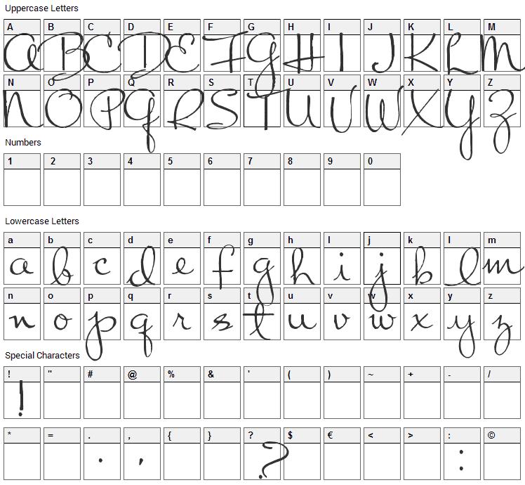 Chart Moss Font Character Map