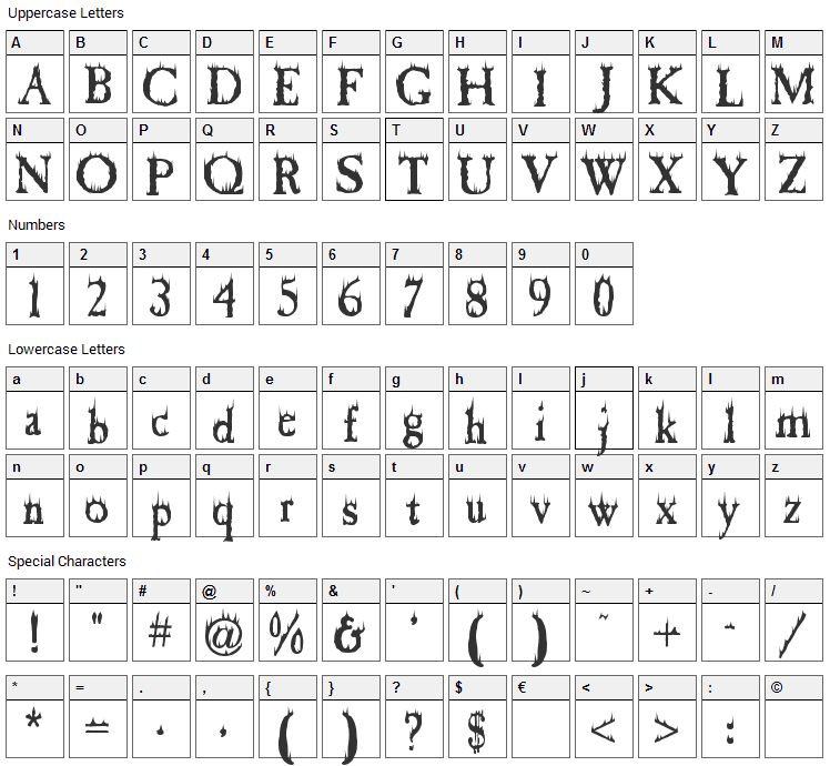 Cheap Fire Font Character Map