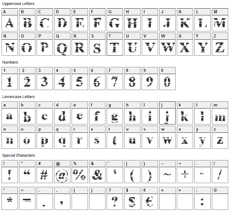 Cheap ink killed my printer Font Character Map