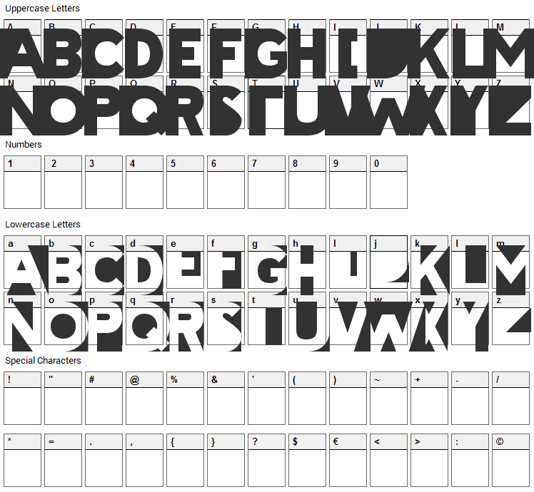 Cheatin Font Character Map