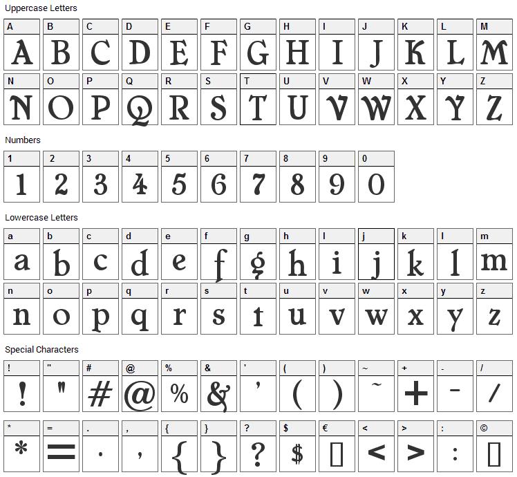Cheboygan Font Character Map