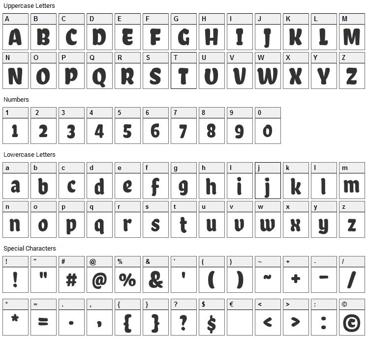Chela One Font Character Map
