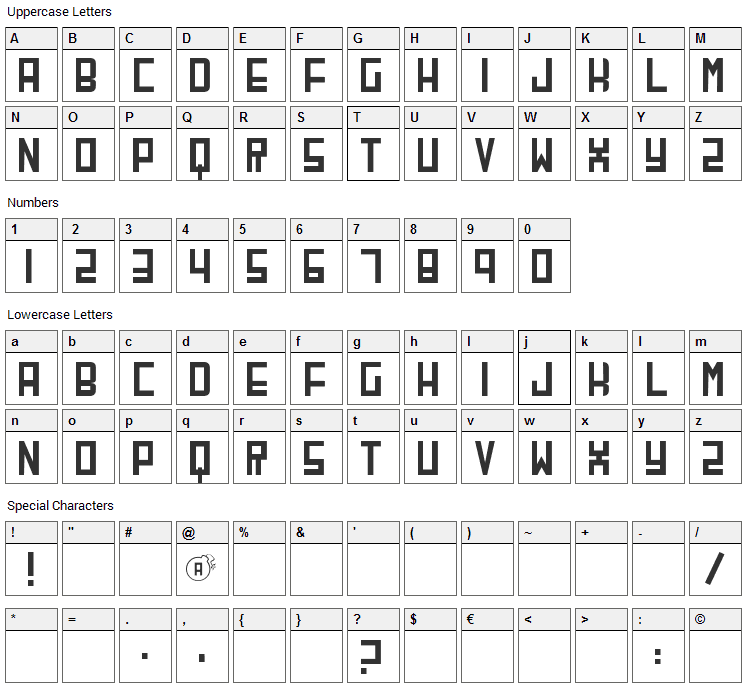 CherryBomb Font Character Map