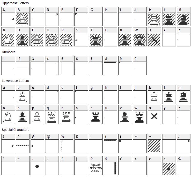 Chess Marroquin Font Character Map