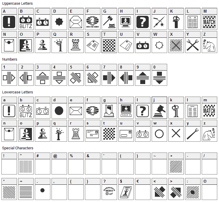 Chess Miscel Font Character Map