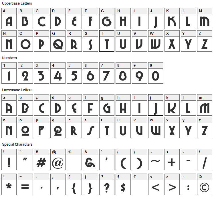 Chi-Town Font Character Map