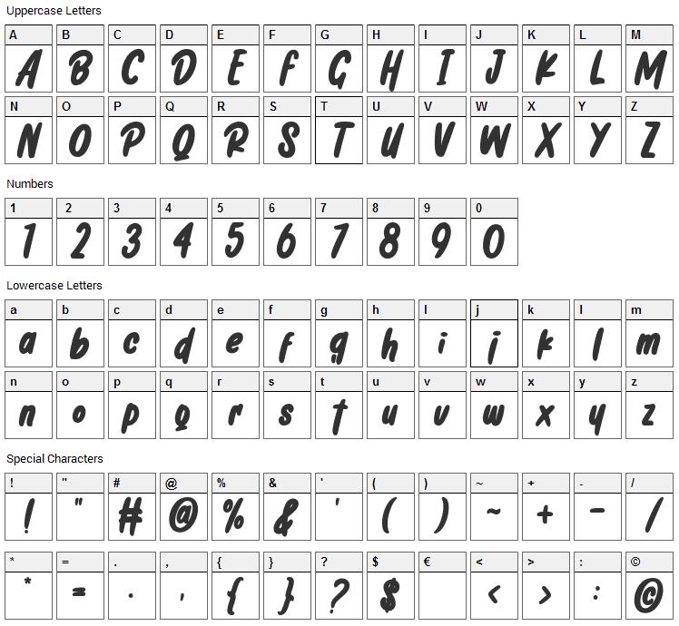 Chicharito Font Character Map
