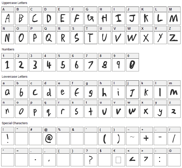 Chicken Scratch V1 Font Character Map