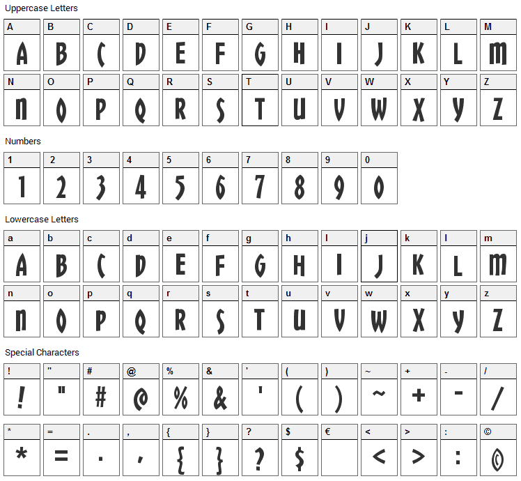 Chickweed Titling Font Character Map