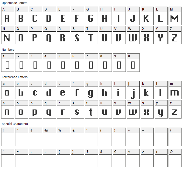 Chicpix Font Character Map
