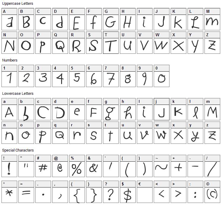Child Written Font Character Map