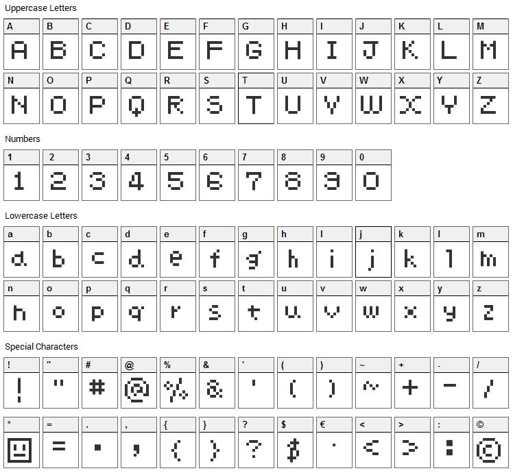 ChimaChima7 Font Character Map