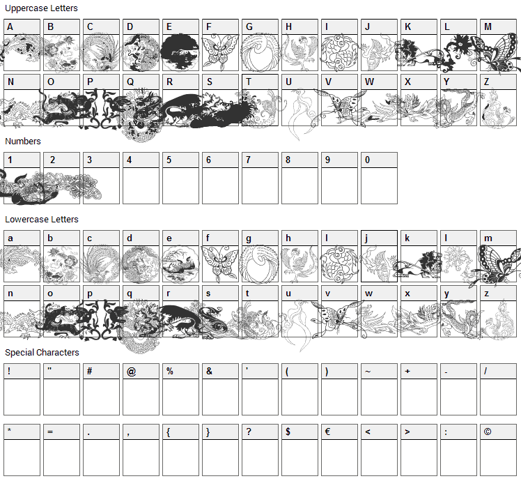 Chinatoo Font Character Map
