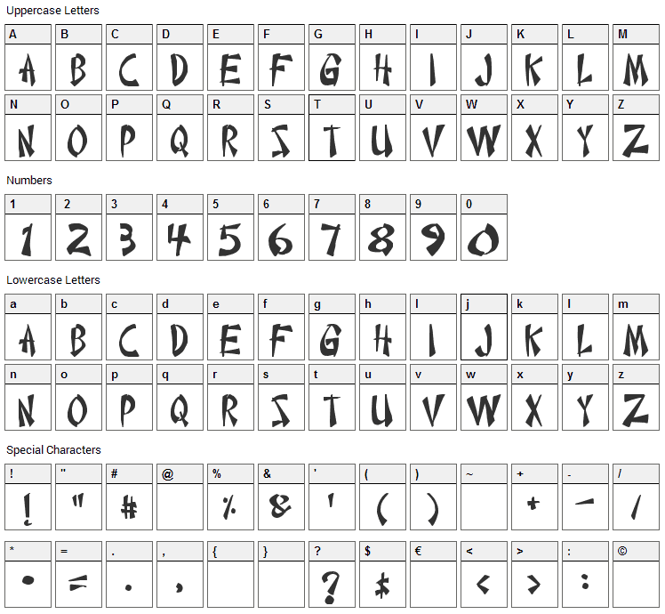 Chinese Takeaway Font Character Map