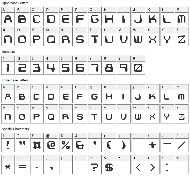 Chintzy CPU Font Character Map