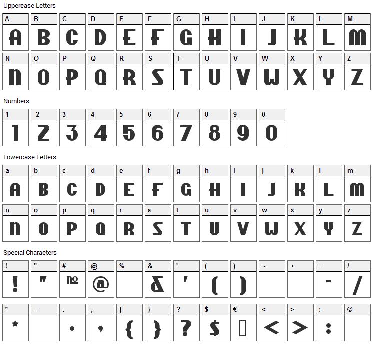 Chippewa Falls Font Character Map