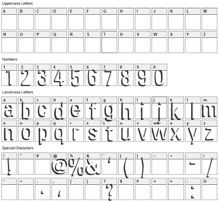 Chira Shadow Font Character Map