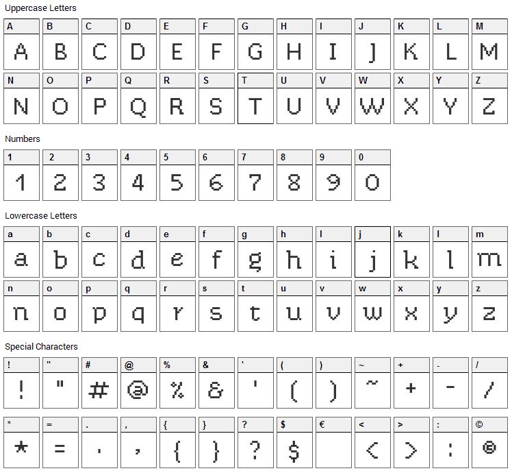 Chixat 8 Font Character Map