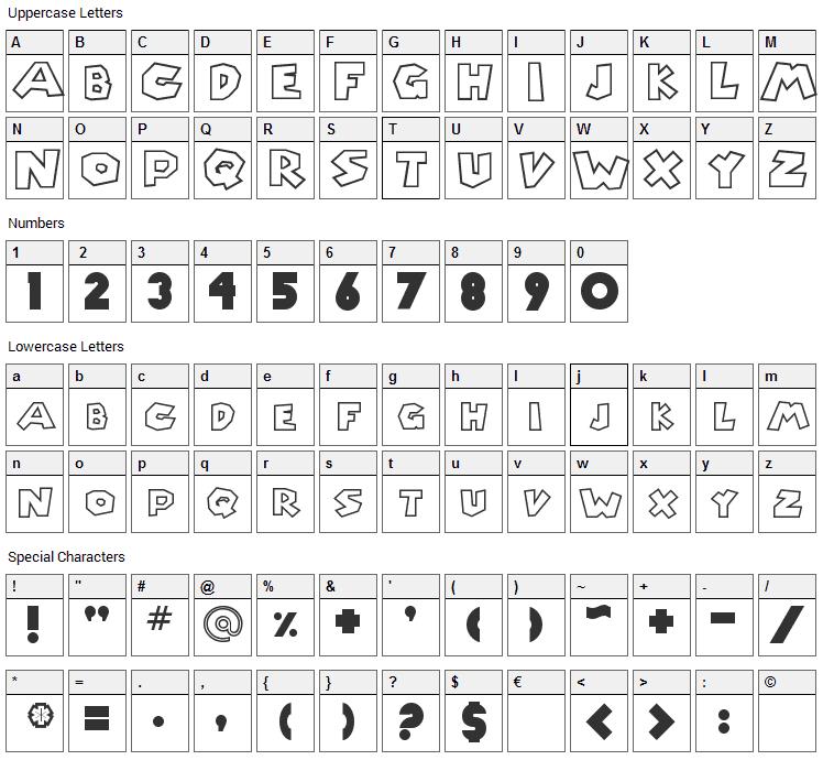Chlorinap Font Character Map