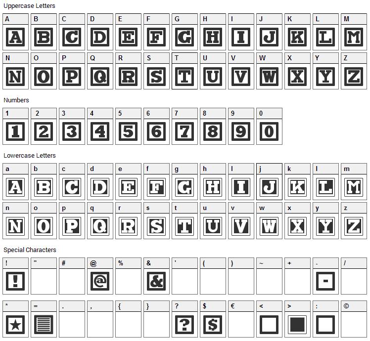 ChockABlockNF Font Character Map