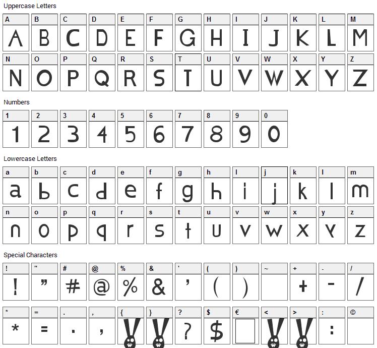 Chocolat Bleu Font Character Map