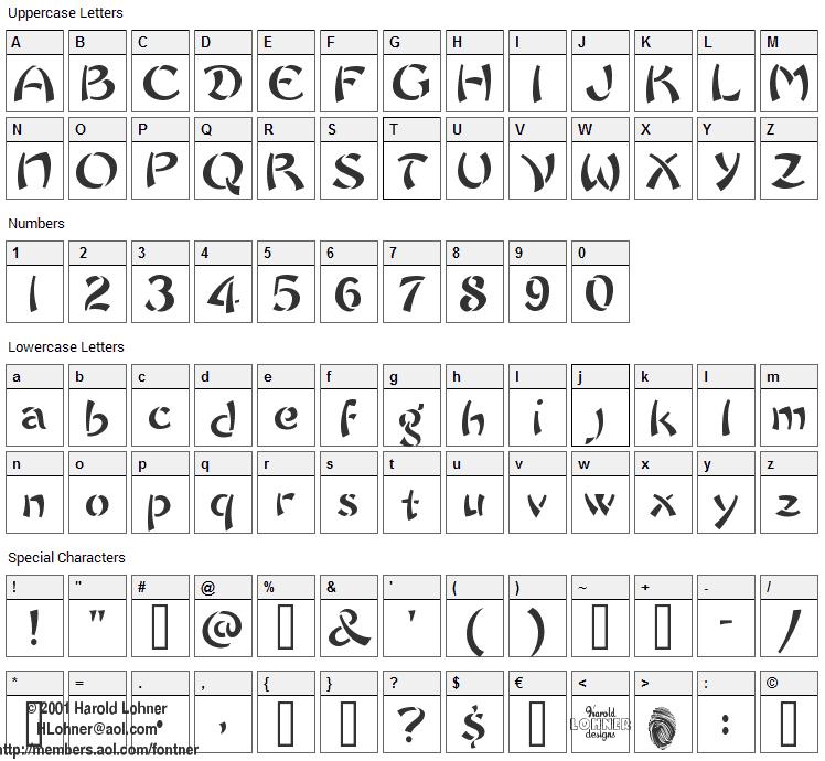 Chow Fun Font Character Map