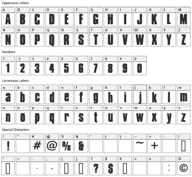 Chrispy Font Character Map