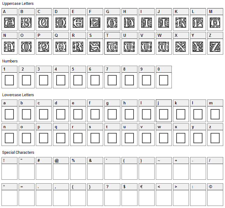 Christensen Caps Font Character Map