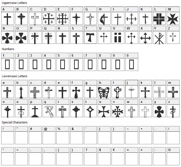 Christian Crosses Font Character Map