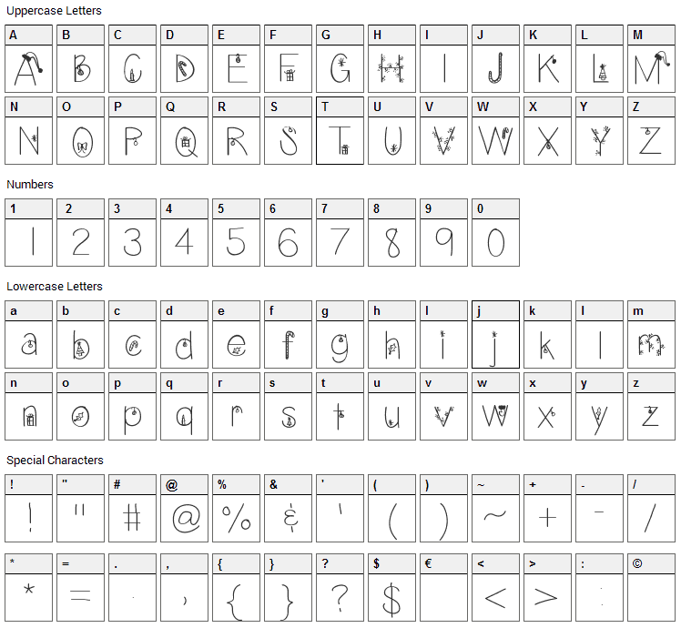 Christmas Eve Font Character Map