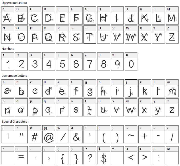 Christmas Ligtness Font Character Map