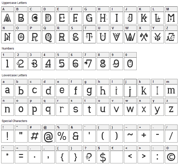 Christmas Sounds Font Character Map