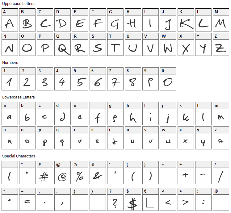 Christopher Hand Font Character Map