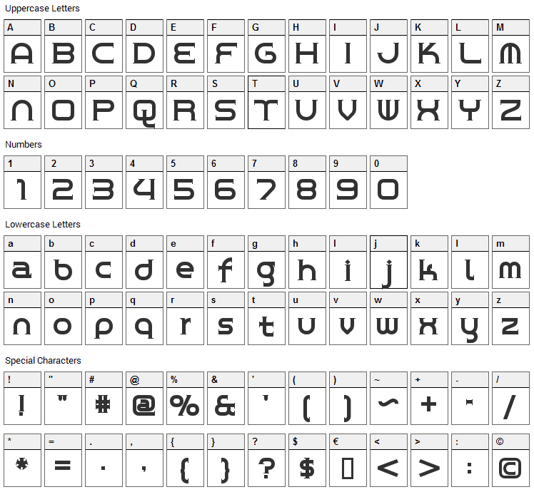 Chrome Yellow Font Character Map