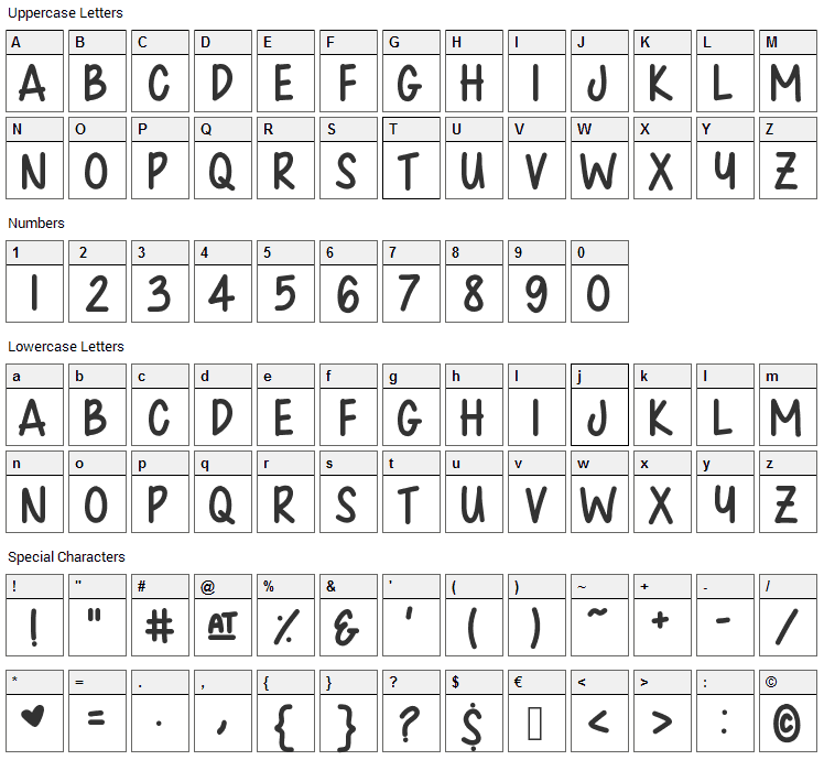 Chunkster Jamz Font Character Map