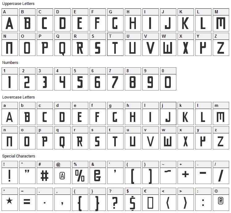 Chyelovek Font Character Map